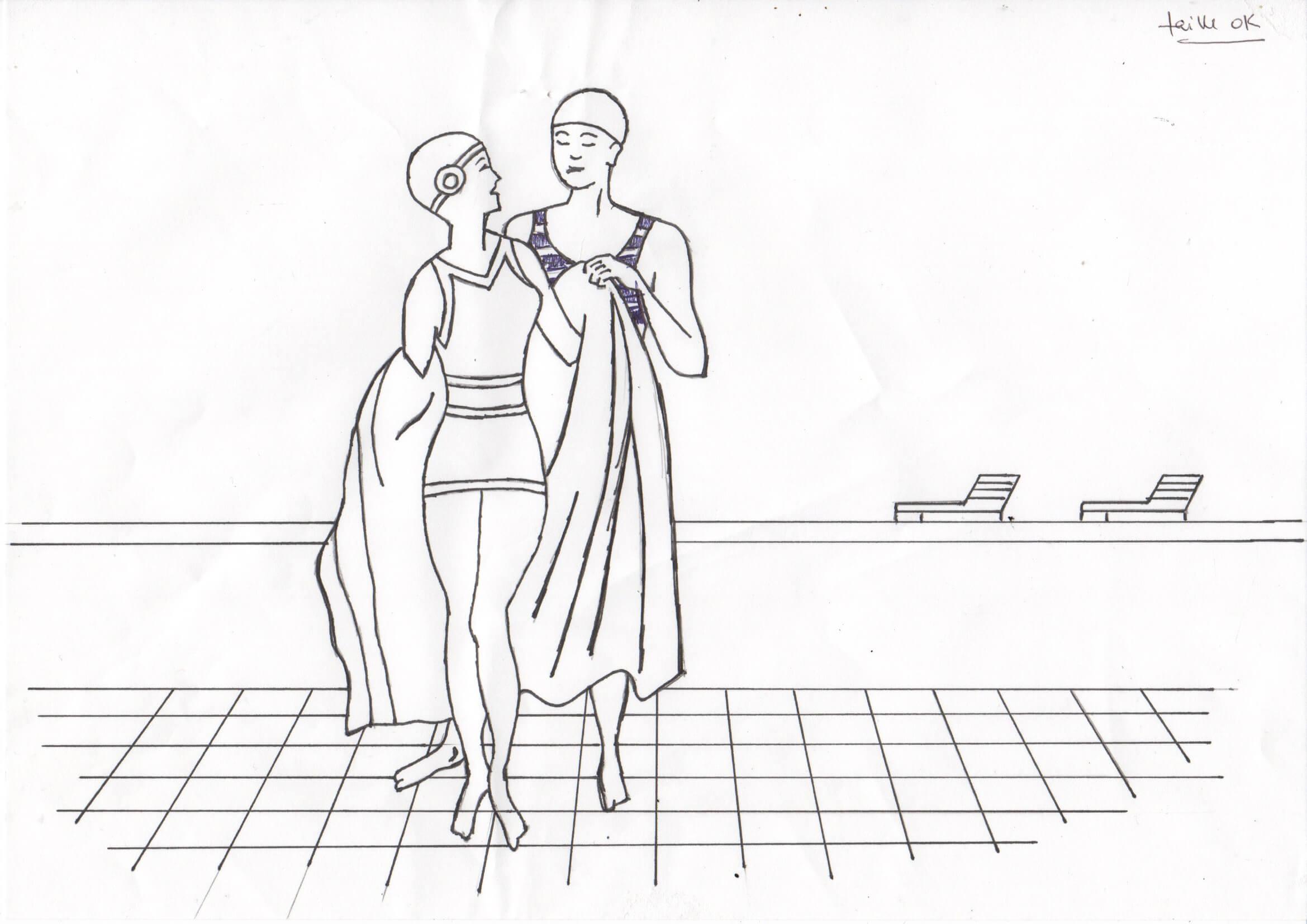 Monsieur tend un peignoir à Madame au sortir du bain